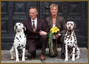 Unser Glücksbringer Porter mit dem Brautpaar Michael & Karola und Coppola